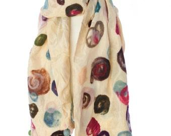 kimono silk scarf with felt appliques
