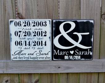 Custom Wedding Sign - Important Date Wedding Sign - Wedding Gift - Engagement Gift - Anniversary Gift - Couples Date Wood Sign
