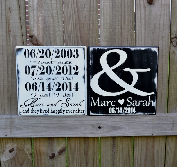 Important Date Wedding Sign - Wedding Gift - Engagement Gift - Anniversary Gift - Important Date Custom Wood Sign - Double