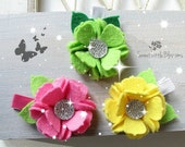 Wool Felt Flowers Clip - Tinkerbell inspired flowers Pink Yellow Neon Green Sparkle Flowers Girl Hair Accessory