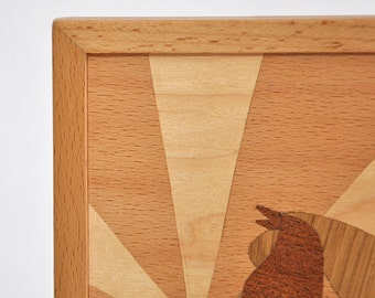 Marquetry framed picture - woodworking decoration - veneer chicken
