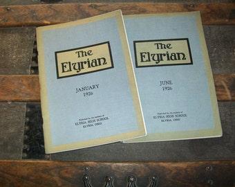 2 Roaring 20's Yearbooks - 1926 Elyria, Ohio High School - The Elyrian Year Book - January & June of 1926