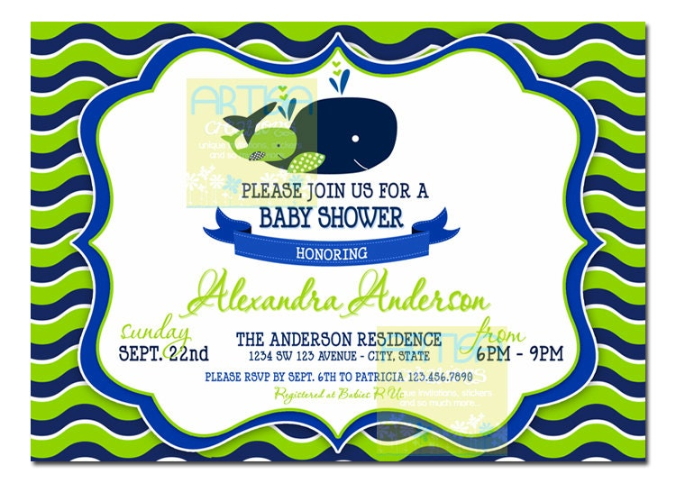 chevron whale baby shower invitation lime green and navy, Baby shower