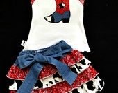 Cowgirl Halter and Skirt Set: Red Bandana and Black and White Cow Print