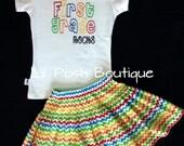 Girls Preschool Kindergarten First Grade Second Grade Third Grade Rocks Back To School Shirt Skirt Set Primary Colors
