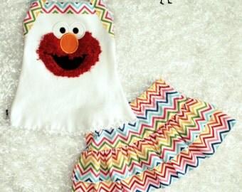 Elmo Inspired Skirt Set: Girly Chevron Rainbow Colors
