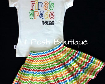 Girls Preschool Kindergarten First Grade Second Grade Third Grade Rocks Back To School Shirt Skirt Set Primary Colors