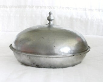 Huge bowl with lid, massive dome cover, vintage hammered solid COPPER round platter Ornate brass finial knob, Turkish dish table centerpiece