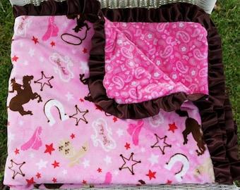 Pink Cowgirl Double Minky Baby Blanket