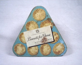Vintage Tin Biscuit 1950s Unique Triangle Triangular Old