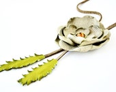 Beige Leather Flower Necklace with Swarovski Crystal center Necklace ,Green Leaves on Mink Suede Cord.
