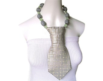 JADEN necktie necklace two strand sage grey checkered silk women's tie green glass