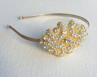 gold bridal headband, gold bridal Headpiece,gold headband,art deco,1920s GOLD Flapper Bridal Headband SMALL