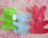 3 colorful finger puppets -- pink rabbit, blue dog, green cat