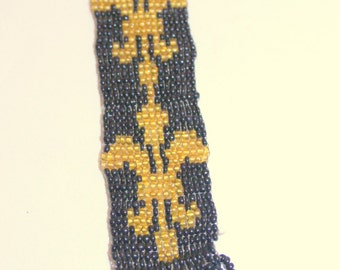 Vintage Hand-Beaded Black and Gold Fleur de Lys Watch Fob