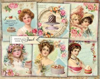 Sweet Stickers - set of 6 - digital collage sheet - Printable Download