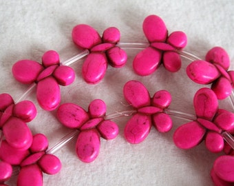 10 Pink Butterfly Magnesite Beads