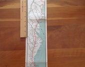 Canada to Florida, US Rte 1 1950's vintage map