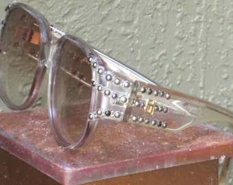 Emmanuelle Khanh Paris Clear Framed Sunglasses w/studded details Tinted Frames c. 1980