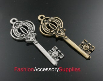 6pcs-46mm Antiqued Bronze,Silver Brass Key charms,Pendants (A479)