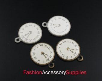 4pcs-14mm Antiqued Bronze,Silver Brass Epoxy Watch,Clock charms,Pendants(A126-A)