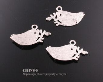 10pcs-22mmX13mmRhodium plated Brass Lovely Bird pendant, Charm(K532S)