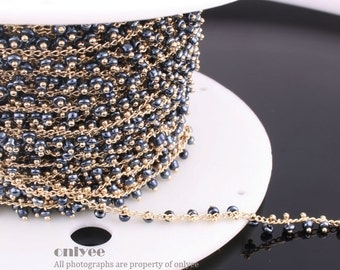 3FT(1yd)- Chain Lacy Navy Blue Seed Glass Bead, Gold Plated over Brass / 2.6mm(N120G)