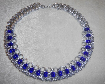 Chain Maille Choker in Anodized aluminum and Cobalt Blue Glass  Helm and Byzantine