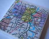 1983 Hartford Connecticut Map Handmade Repurposed Vintage Map Coaster - Ceramic Tile Coaster Repurposed 1983 City Map Atlas OOAK Coasters