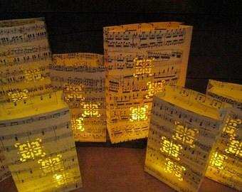 10 Sheet Music Lanterns, Music Themed Wedding Decorations, For Weddings & Events, Luminaries, Music Centerpieces, Wedding Centerpiece