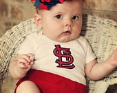 STL red/navy ruffle onesie dress STL baseball dress
