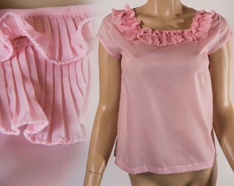 Really pretty 1960's vintage silky semi sheer soft pink ruffle pleat neckline button back polyester blouse  - DB108