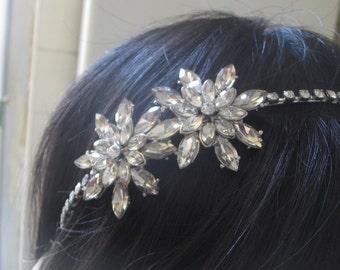 Sparkle flowers wedding bridal Swarovski rhinestone crystals hair comb headband, rhinestones headband, bridal accessories, party headpiece