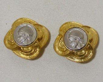 Vintage Spartan Coin Clip Earrings
