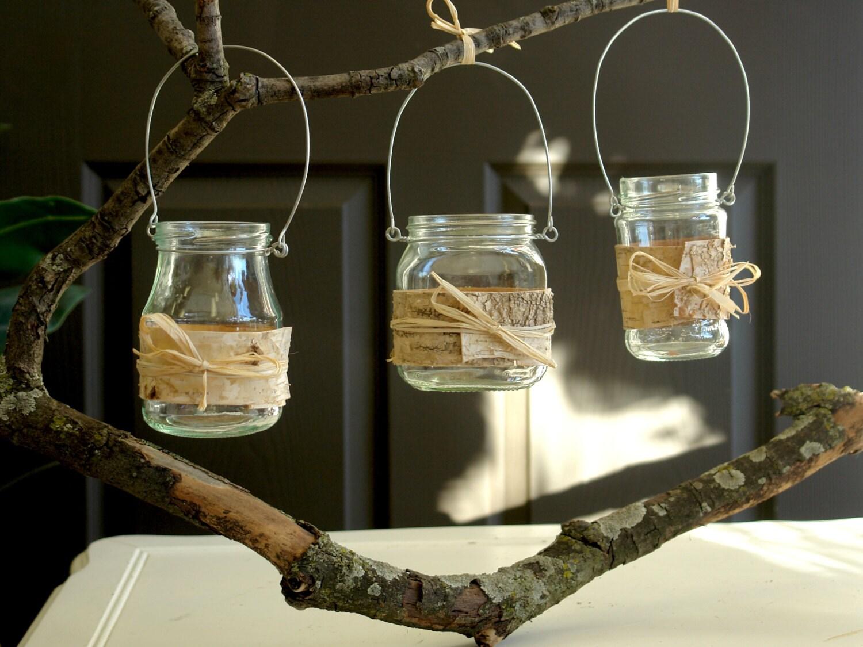 Hanging Glass Mason Jars Birch Bark Outdoors Garden Weddings