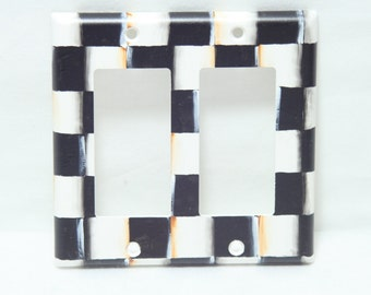 Hand Painted Black and White Checkerboard Checks Switchplates, Whimsical, Beth Baker Artist