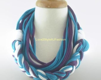 Multicolor Infinity Scarf, Mens, Womens, White Purple Blue Necklace, Gift Ideas, Necklace, Best Friend, Accessories, Girlfriend Gift