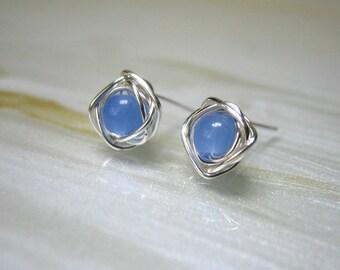 Tiny Stud Earrings, Blue Post Earrings, Small Stud Earrings, Tiny Stone Studs, Chalcedony Earrings, Bridesmaids Jewelry,