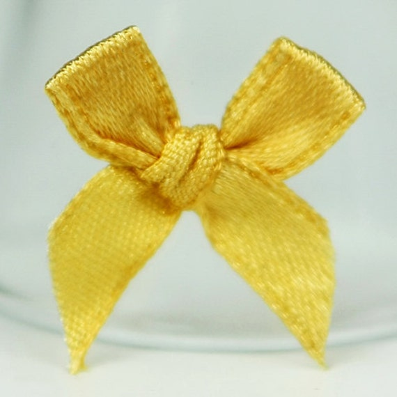 B-021  / Little Satin Ribbon Bows / 100 Pcs / Color - Gold / Size : 2-3 cm.
