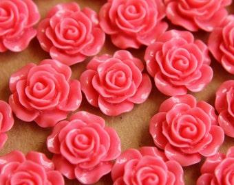 20 pc. Bubblegum Pink Glossy Crisp Petal Rose Cabochon 14mm | RES-272