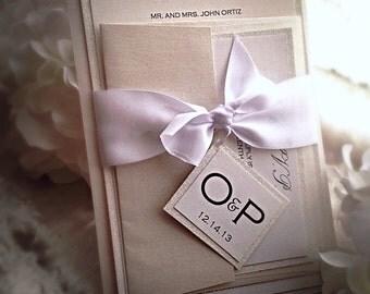 Wedding Invitations White Glitter and light champagne Wedding Invitation with RSVP, wedding invitations