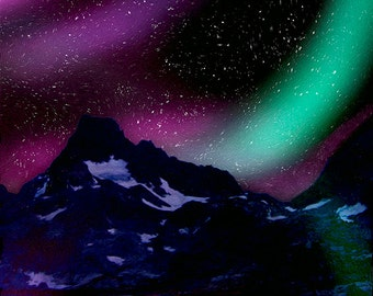 Aurora Borealis Northern Lights Canvas Print Digital Painting Fine Art Home Decor Wall Art