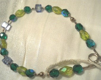 Sterling Silver Bracelet/Anklet in Colors of the Sea