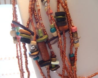 Multi Strand Mixed Bead Necklace With Earth Tones Light and Beautiful