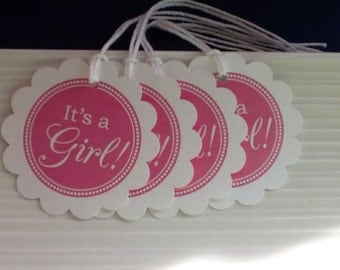 It's a Girl / Baby Girl / Baby Shower / favor tags / set of 10