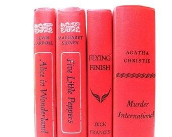 Red Coral Vintage Books / Book Decor / Decorative Books / Interior Decorating / Instant Library/Wedding Decor/ Photo Prop/ Book Bundle