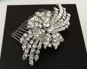 Emily - Vintage inspired  bridal hair comb, wedding hair accessory, crystal hair comb, wedding hair piece