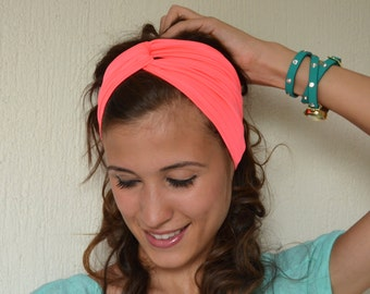 Neon pink tribal jersey stretchy headband-Yoga headband-Twisted hair band-Gifts for her-Christmas gifts-Choose your color !!!