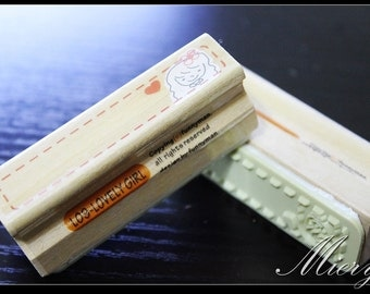 1 Piece Lace Stamp - Wooden Rubber Stamp - Diary Stamp - Korean Stamp - Style 9