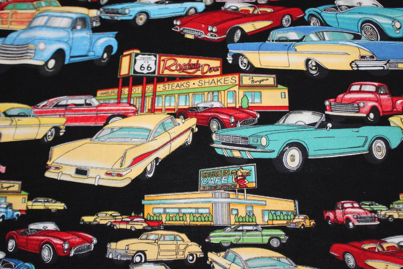 fabric vintage 50s car material quilting crafting chevy route. Black Bedroom Furniture Sets. Home Design Ideas